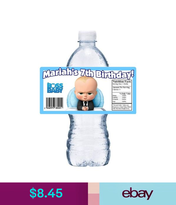 20 The Boss Baby Personalized Birthday Party Favors Favor Water Bottle Labels Ebay Home Garden Boss Baby Baby Boy Birthday Themes Boy Party Favors