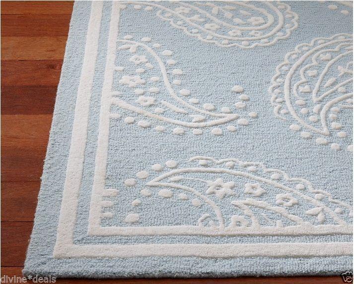New Pottery Barn Kids Blue Paisley Wool Rug 3 X 5 Sealed