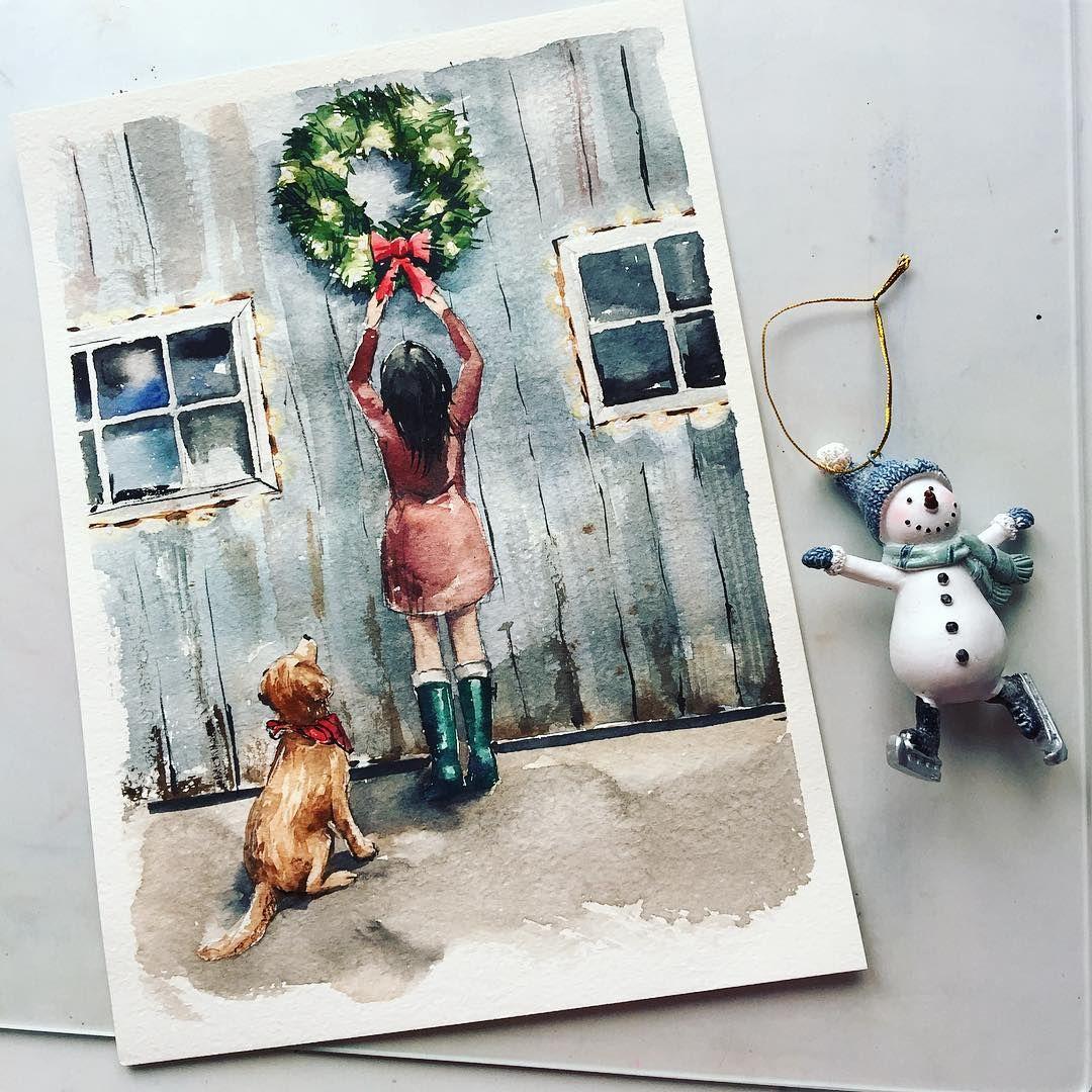 Pin by Shalimova Olga on рисунок Christmas paintings
