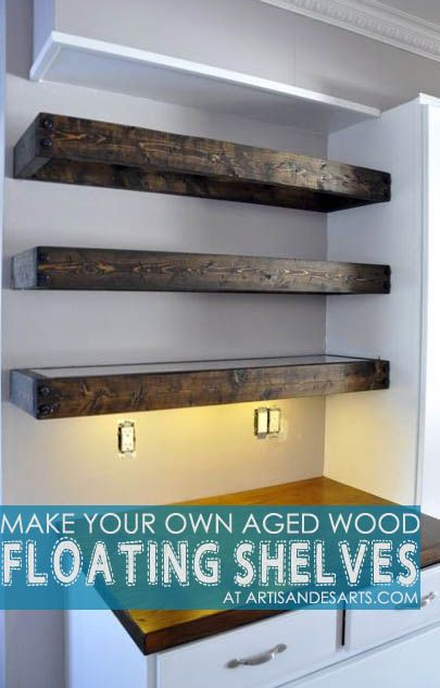 Aged Wood Floating Shelves Diy With Instructions Floating
