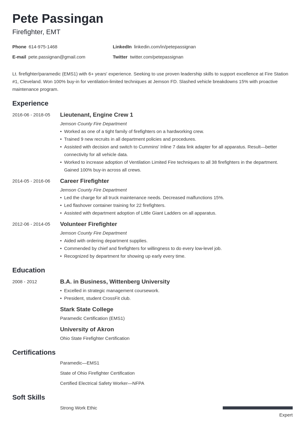 firefighter resume example template minimo in 2020