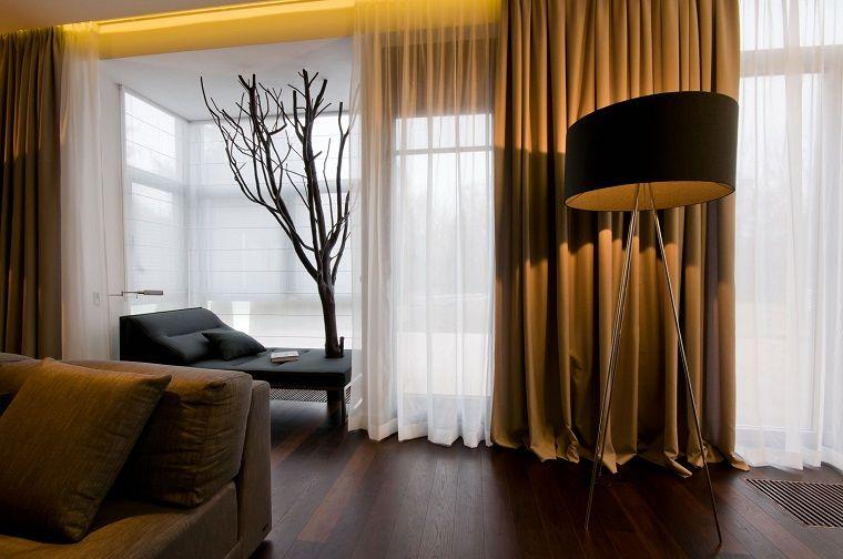 Tendaggi Soggiorno ~ Tende soggiorno eleganti ocra bianche idee e ispirazioni per