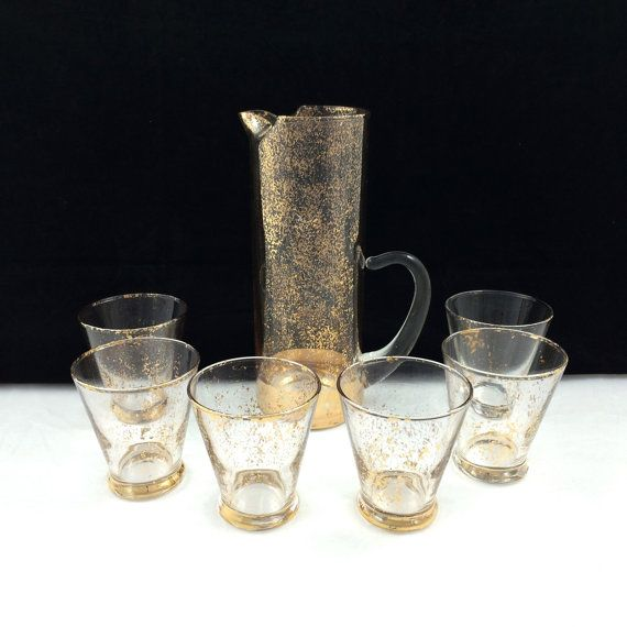 Vintage Gold Confetti Martini Barware Set With By PrimaTreasures