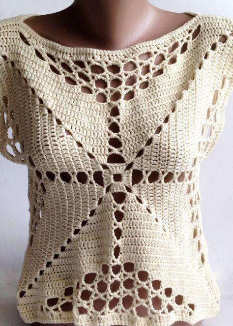 Crochet crop top/ Halter summer top/ Bohemia Top/ Crochet vest ...