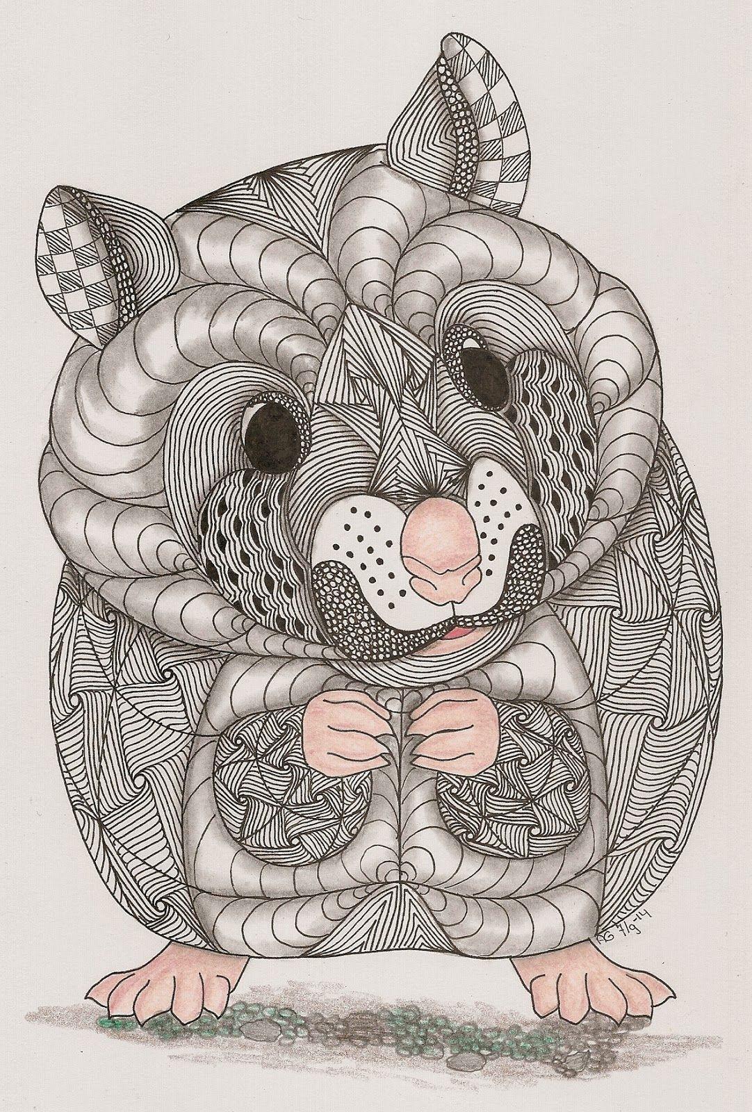 Adri Hamster Zentangle Art Zentangle Animals Animal Coloring Pages