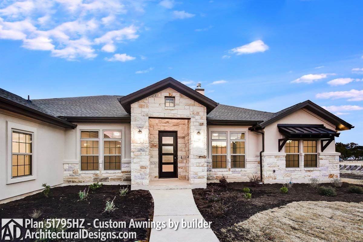 Plan 51795hz One Story Living 4 Bed Texas Style Ranch Home Plan In 2021 Ranch House Plans Ranch House Exterior Stone House Plans