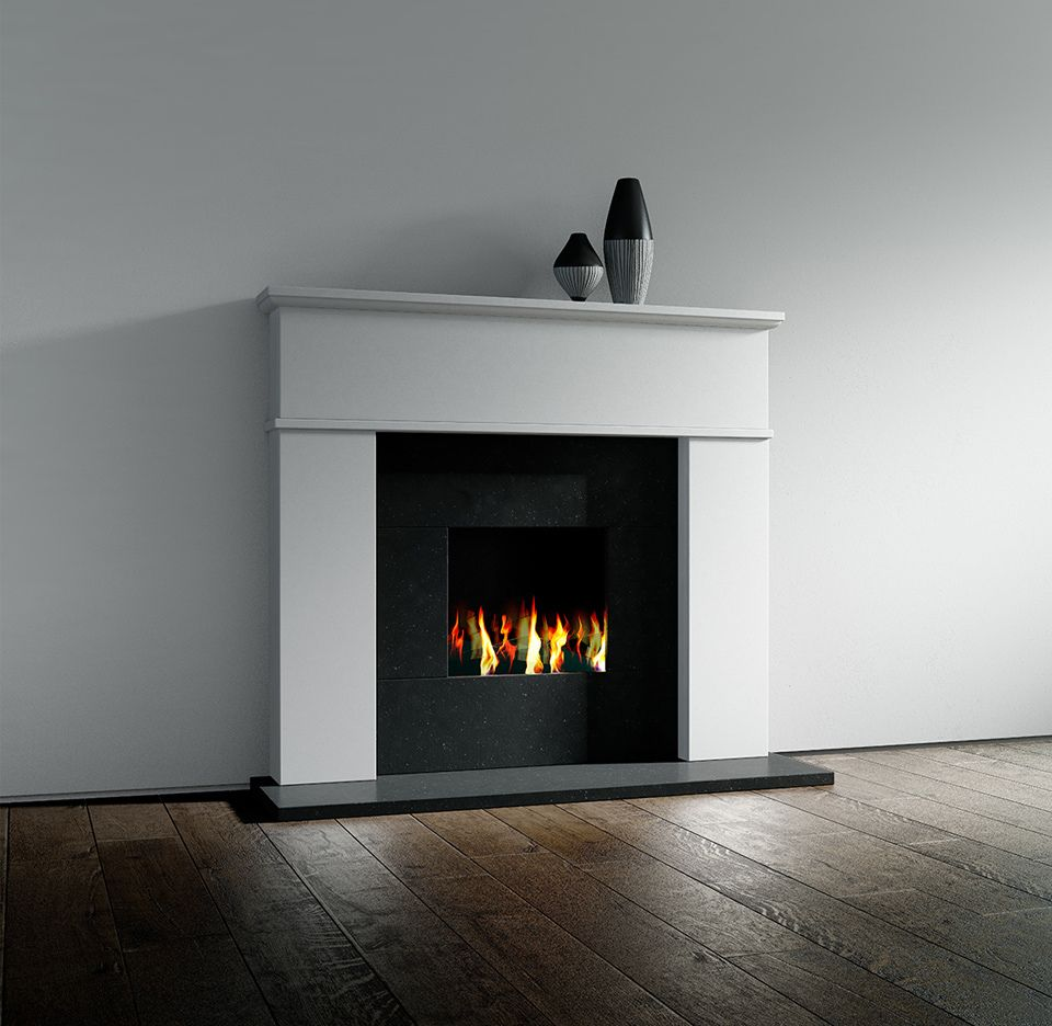 Nero Absoluto the melbourne j rotherham minoan limestone fireplace with nero