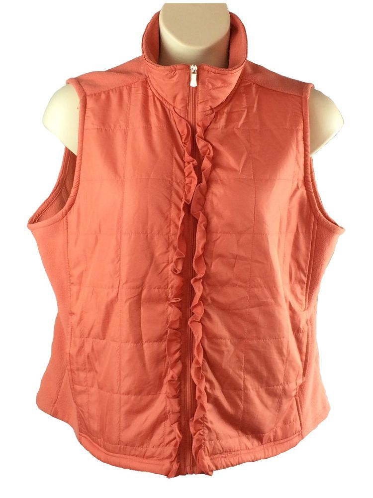 Womens Marisa Christina Orange Vest Plus Size 2X Silver Tone Zipper 2 Pockets #MarisaChristina