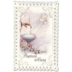 Symbolic Baptism Lace Holy Card