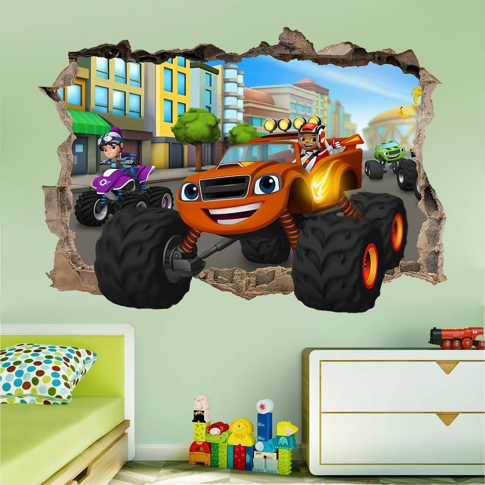 Blaze And The Monster Machines Msmashed Wall Sticker   Bedroom Art Kids  Mural