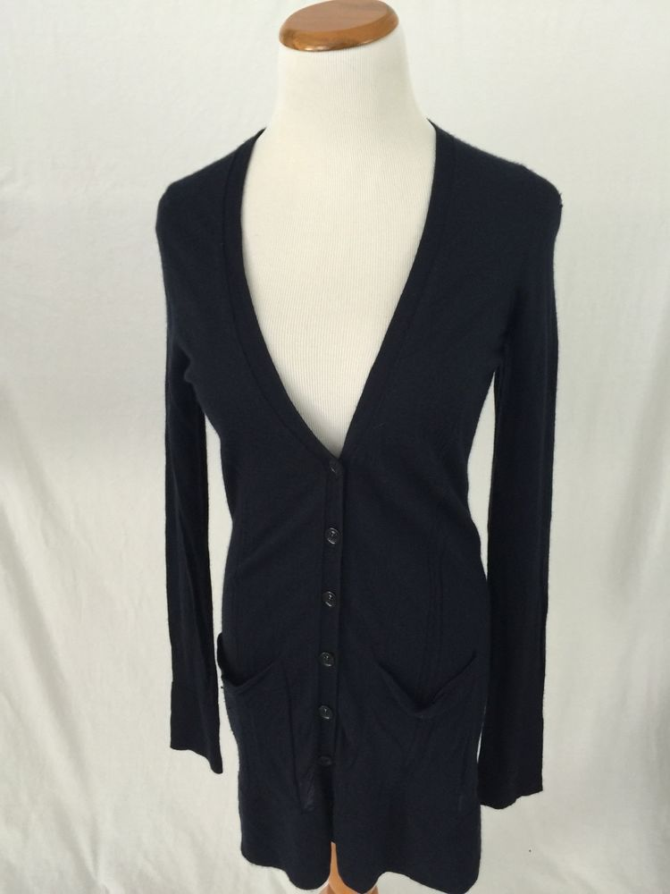 BURBERRY LONDON navy blue 100% cashmere cardigan sweater Women's M ...