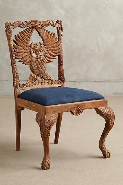 Handcarved Menagerie Owl Dining Chair