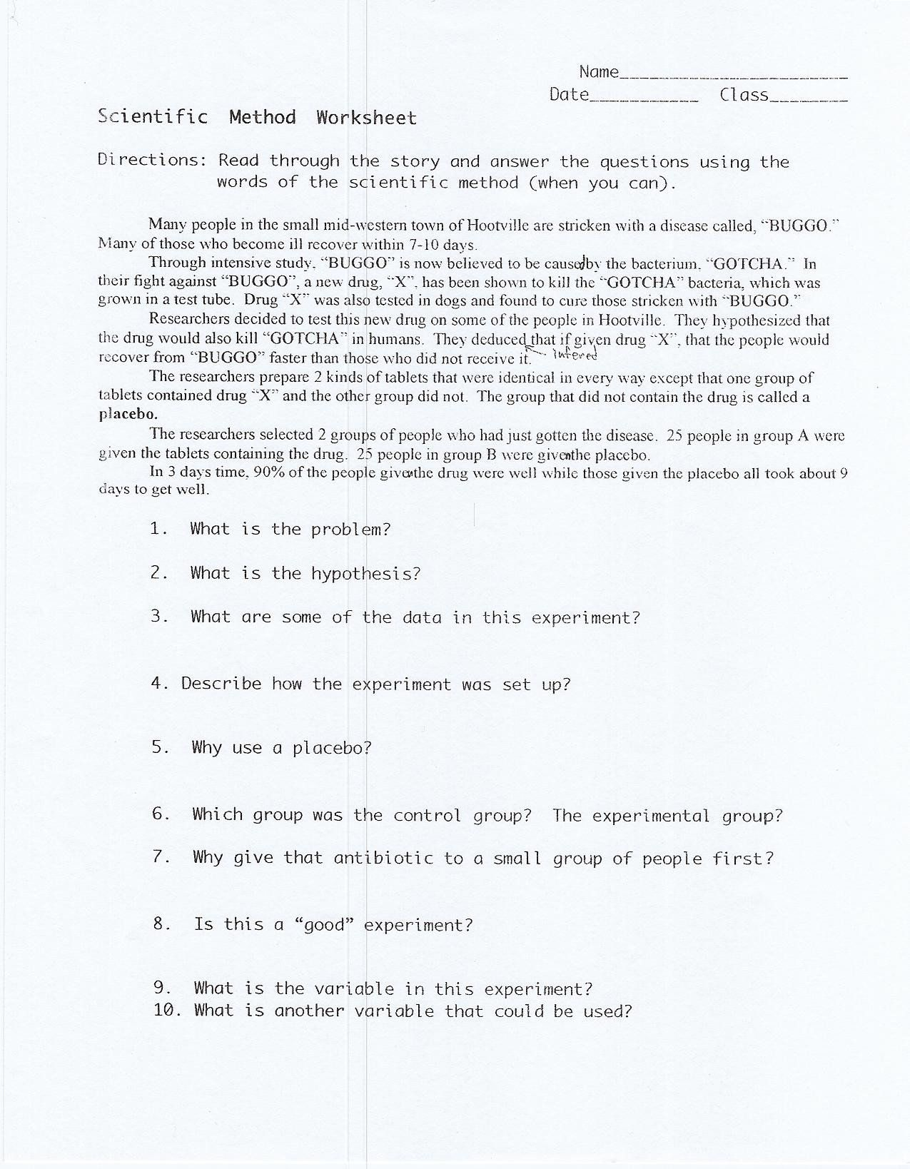Scientific Method Story Worksheet High School Scientific