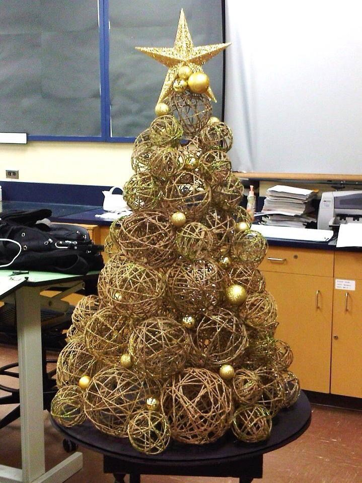 Christmas Tree Made From Twine Yarn Balls Ornaments A Giant Star And