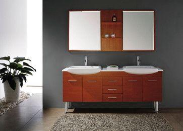 71 Infinity Double Sink Vanity Maple Modern Bathroom