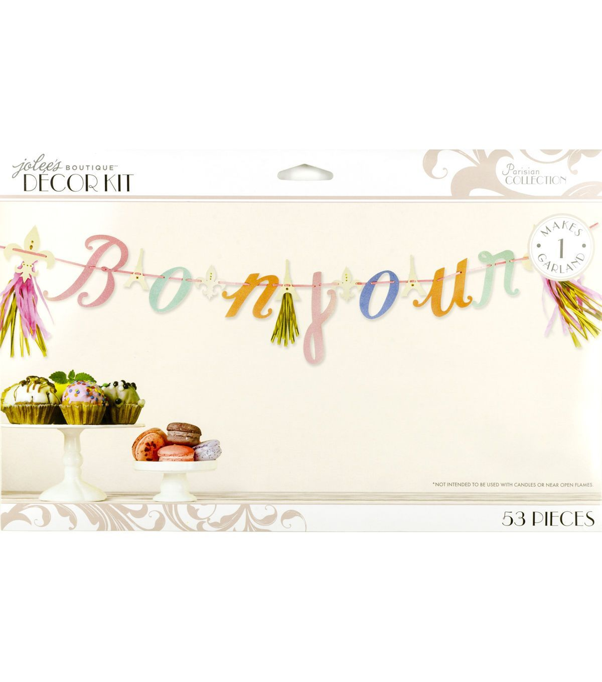 Ooh la la. This Parisian Bonjour Garland is trés chic. Simply assemble by stringing the sparkling glitter letters on to the included ribbon, add the tassels, and voila. Its the perfect way to decorate