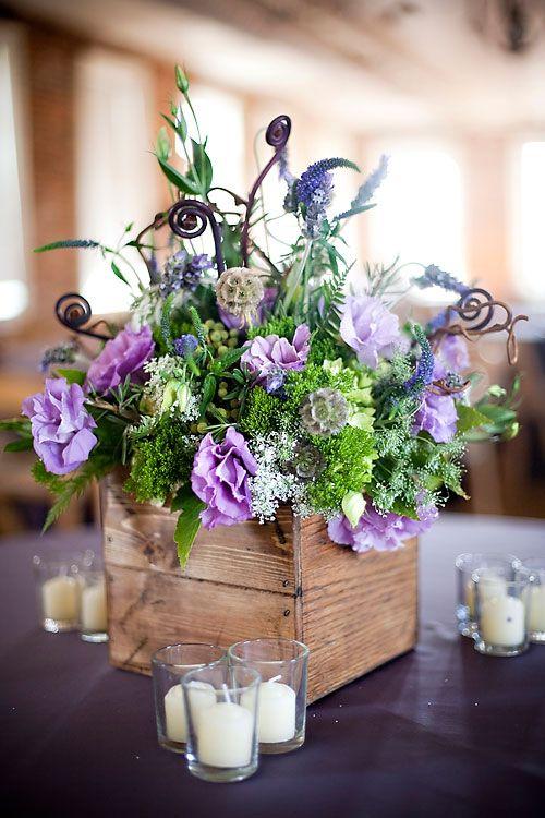 flowers in wooden box centerpiece