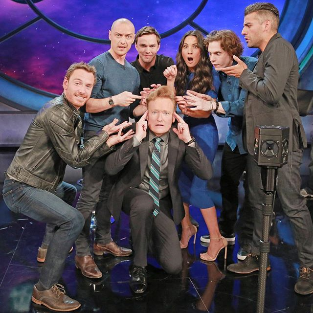 The cast of X-Men: Apocalypse with Conan O'Brien at SDCC