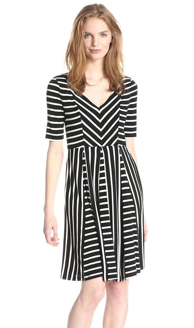 Maggy London Flippy Striped Fit-and-Flare Dress | Striped Dresses ...