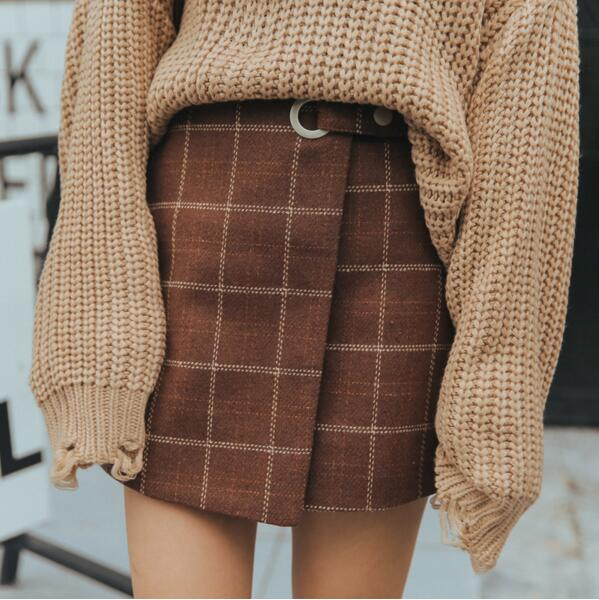 1851815ed5 2018 Women's Autumn And Winter Harajuku Thickened Woolen Plaid Retro Skirt  Female Cute Japanese Kawaii Skirts For Women