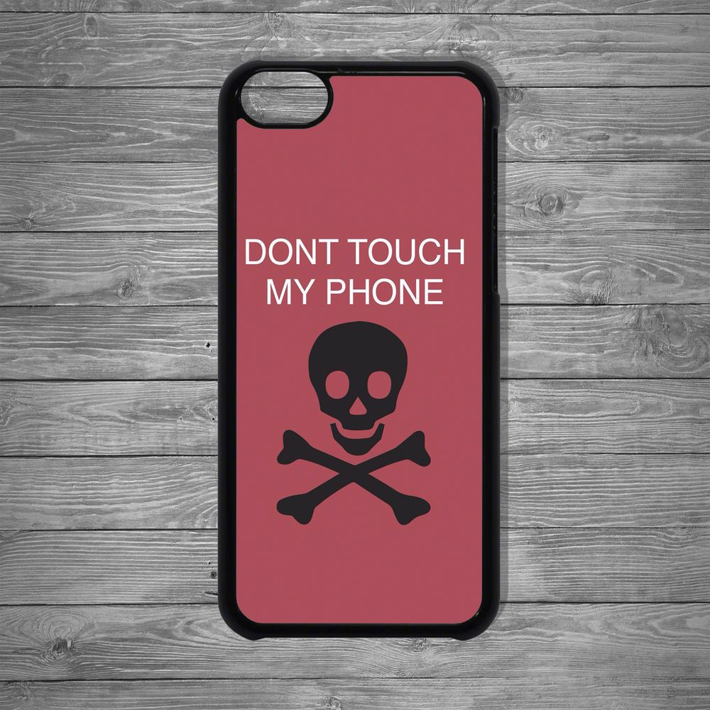 Don't Touch My Phone Skull Bones Red Apple case cover