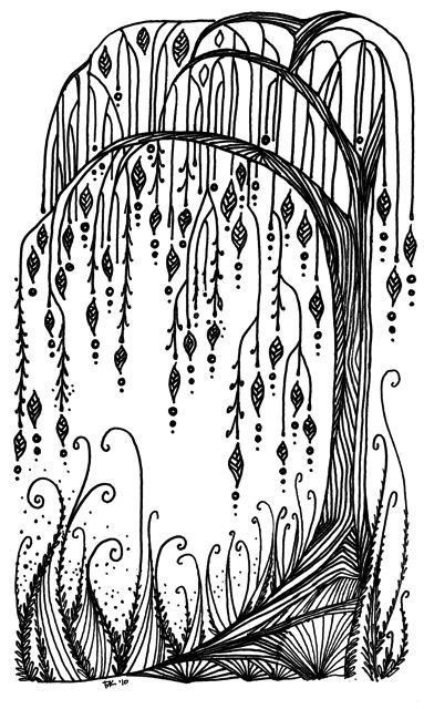 Weeping Willow Tree Doodle With Dangles