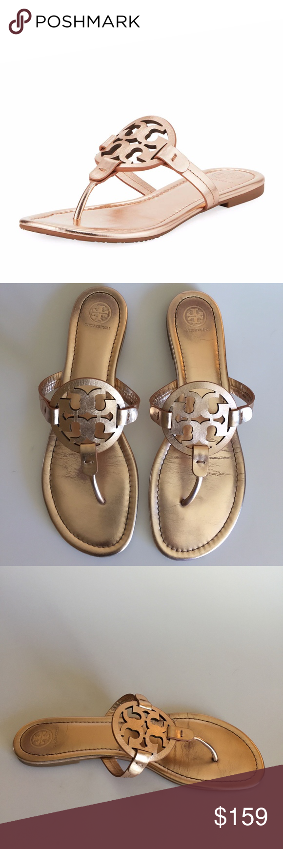 255661181b1b4d Tory Burch Miller Medallion Metallic Leather Flat   In Good conditions