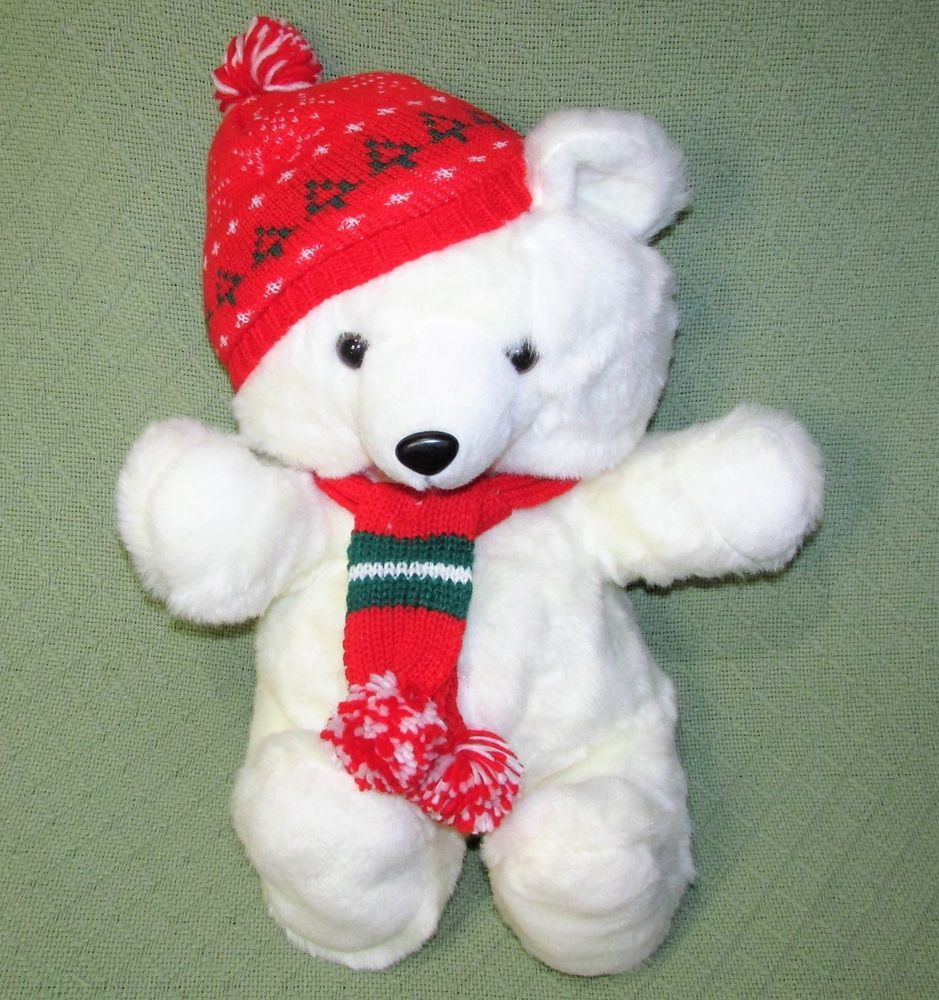 1986 Kmart FAIRVIEW Teddy Bear Christmas Holiday White Red Hat Scarf ...