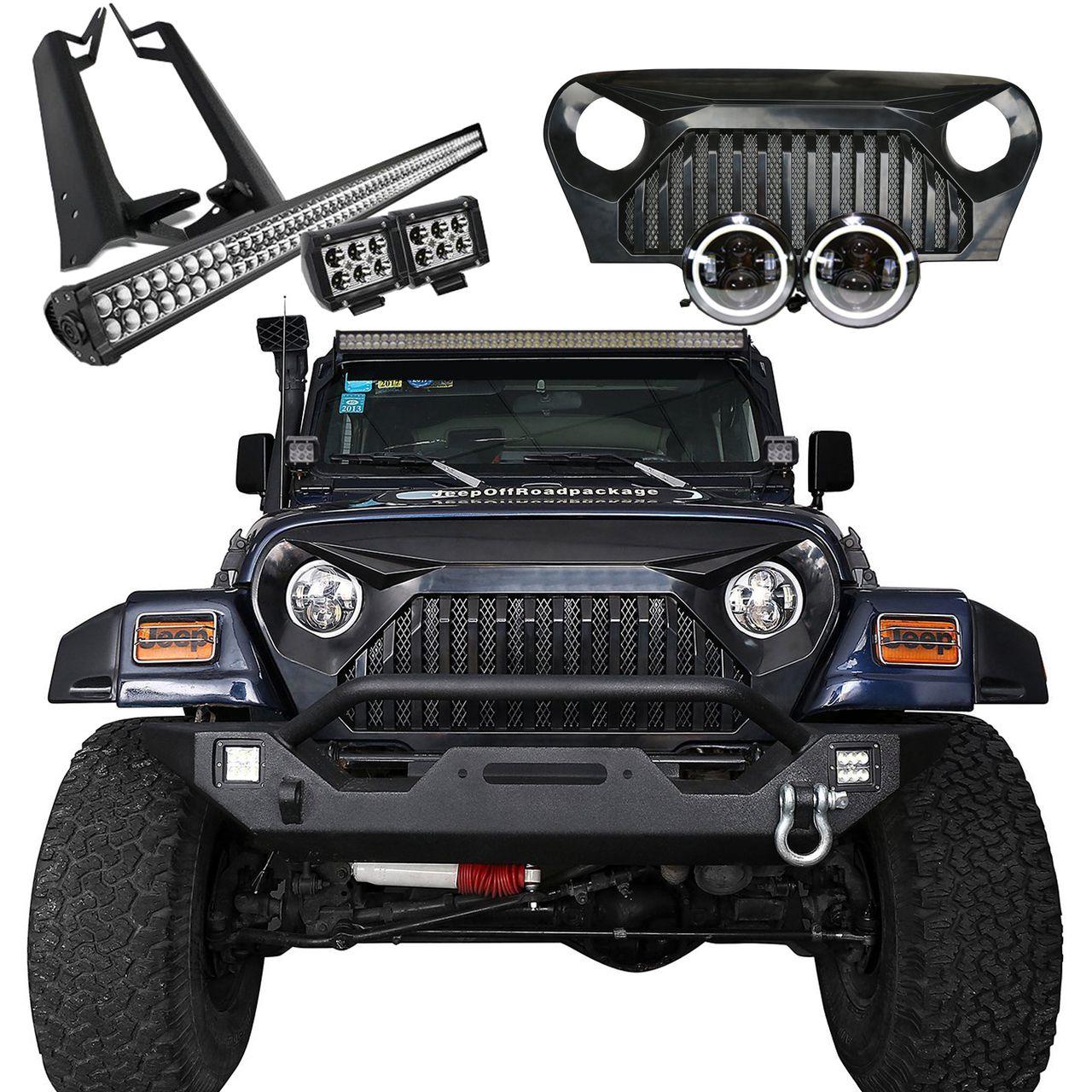 Jeep Tj Mega Bundle Light Bar Pods Halo Headlights Vader Grille Leds 4 Less Trucks Diesel Trucks Ford Trucks