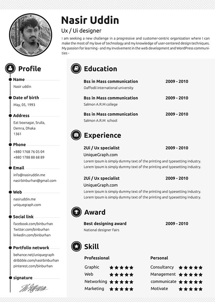 30 Free  Beautiful Resume Templates To Download Template, Cv - Resumes Templates