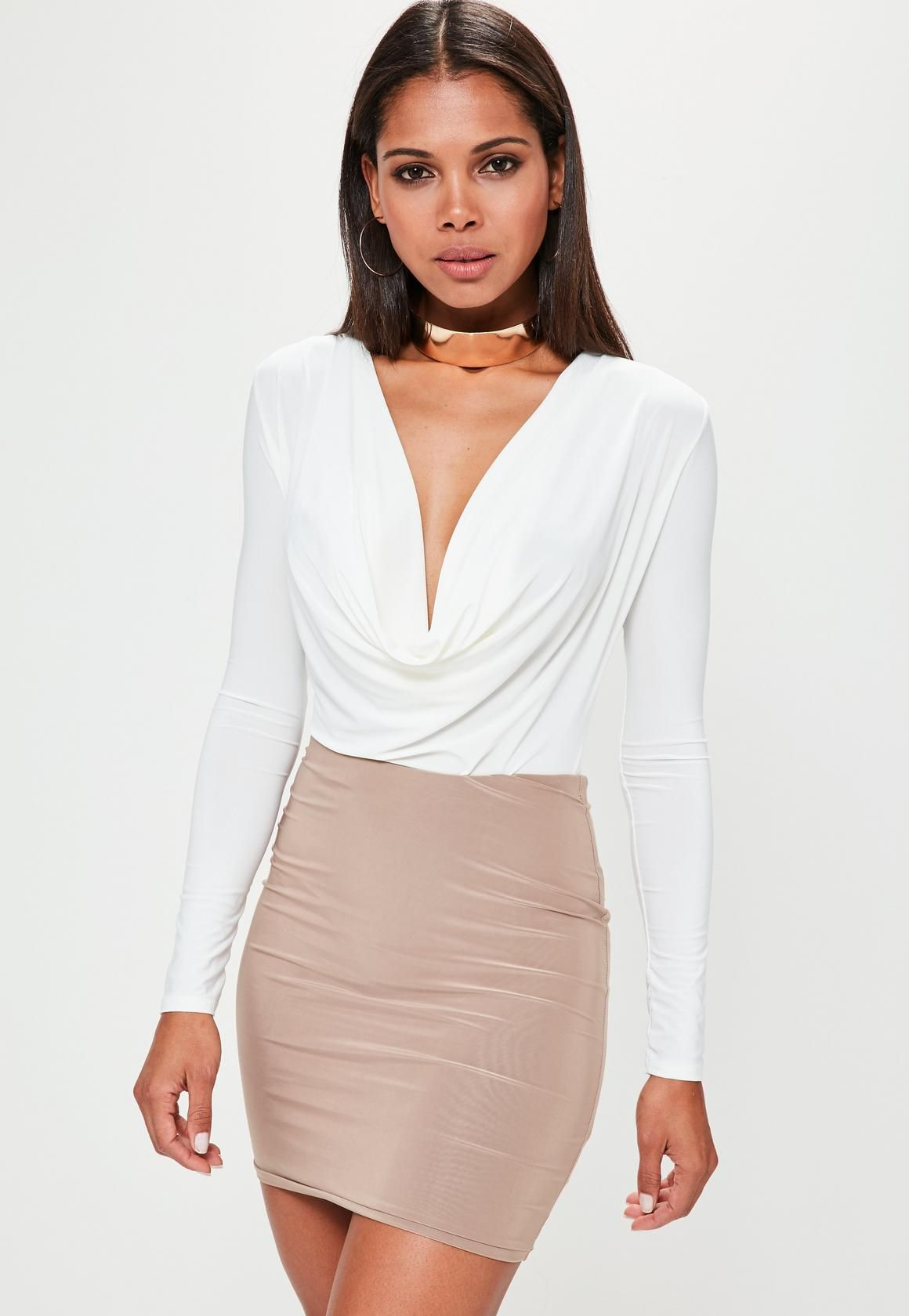 141f6191165 Missguided - White Cowl Neck Bodysuit
