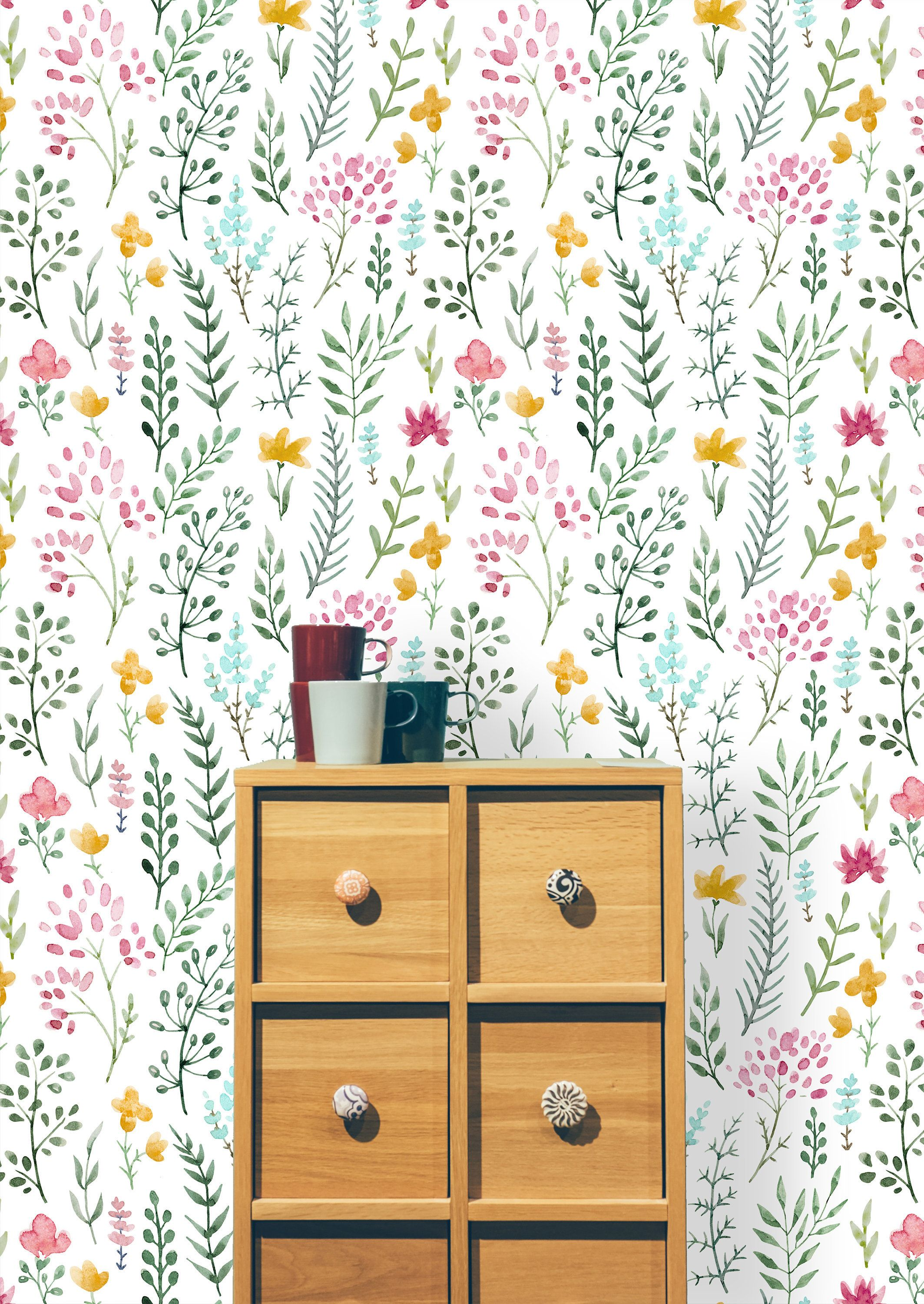 Leggett Removable Watercolor Cute Flowers 6 25 L X 25 W Peel And Stick Wallpaper Roll In 2020 Peel And Stick Wallpaper Self Adhesive Wallpaper Removable Wallpaper