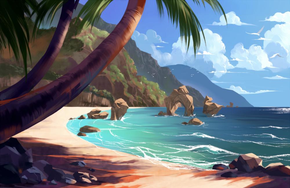 ArtStation Island Concept, Felicia Chen in 2020 Moana