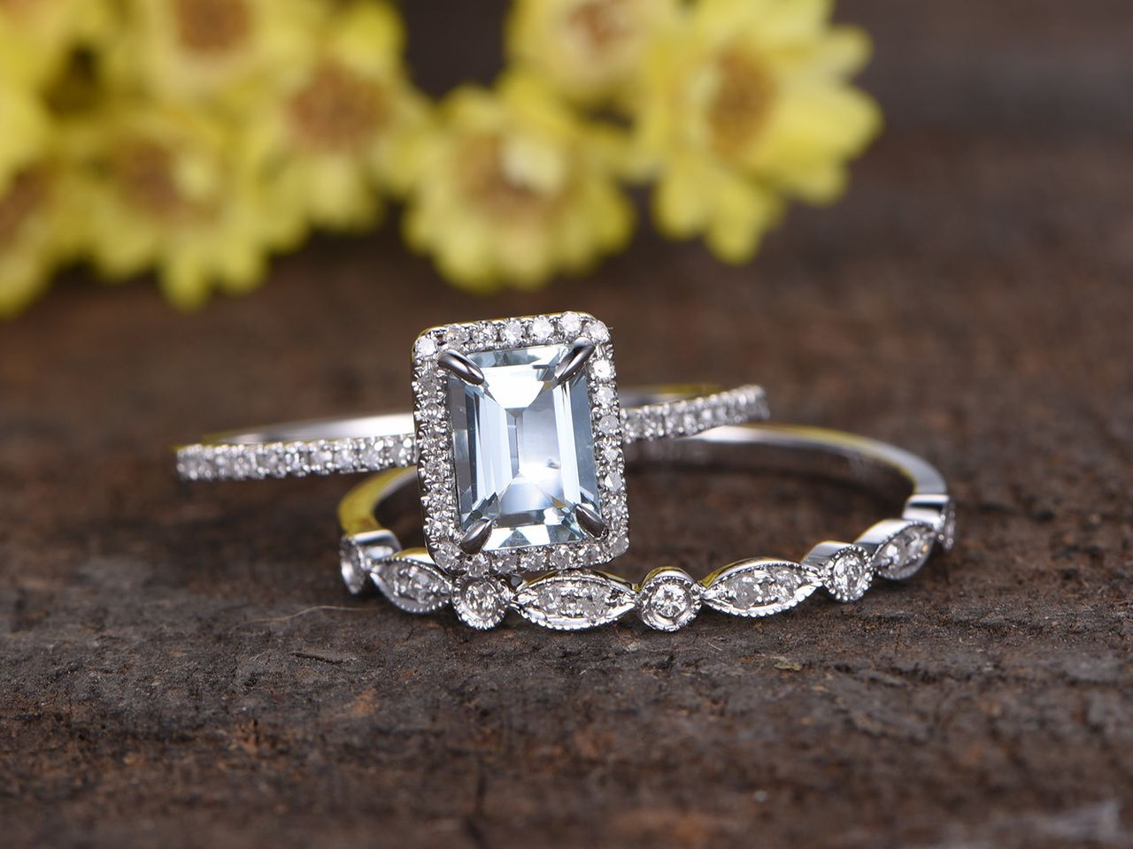 aquamarine wedding rings 1 Carat Emerald Cut Aquamarine Wedding Ring Set Diamond Matching Band 14k White Gold Art Deco