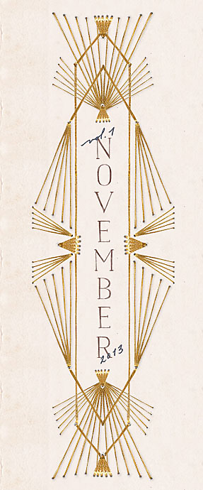 """Anthropologie Catalog: November 2013 Lookbook   Inspiration could have been Art Nouveau or Art Deco architectural details. Could use a curated set of architectural """"inspirations"""" to create a whole collection of these (hand embroidered!) for a calendar or other typographic solution. The mix of classic roman text and handwritten script is key to the overall effect."""
