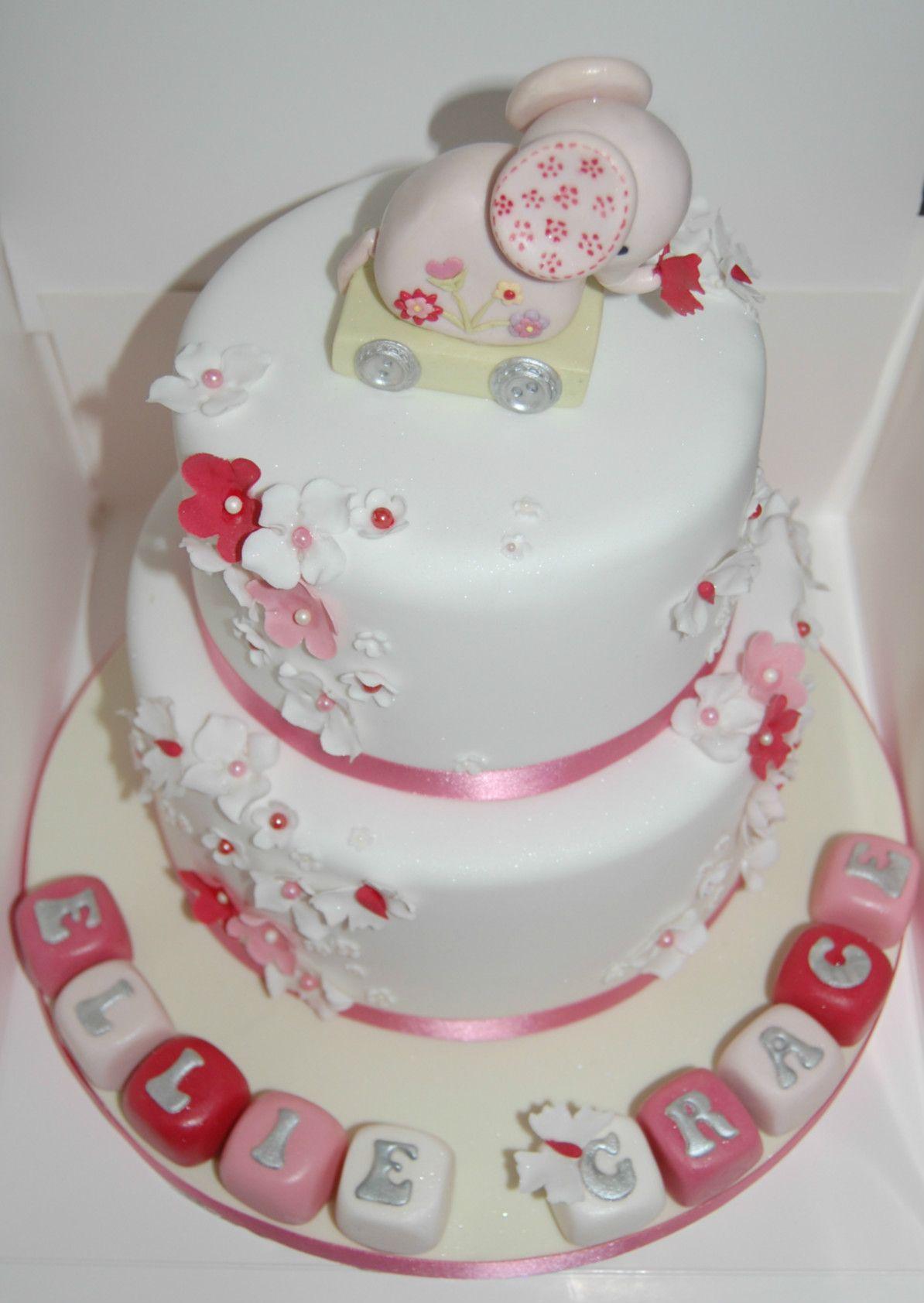 Cute Elephant Girls Christening Cake