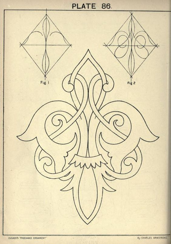 Cusack\'s freehand ornament. A text book with ch...: | plantillas ...