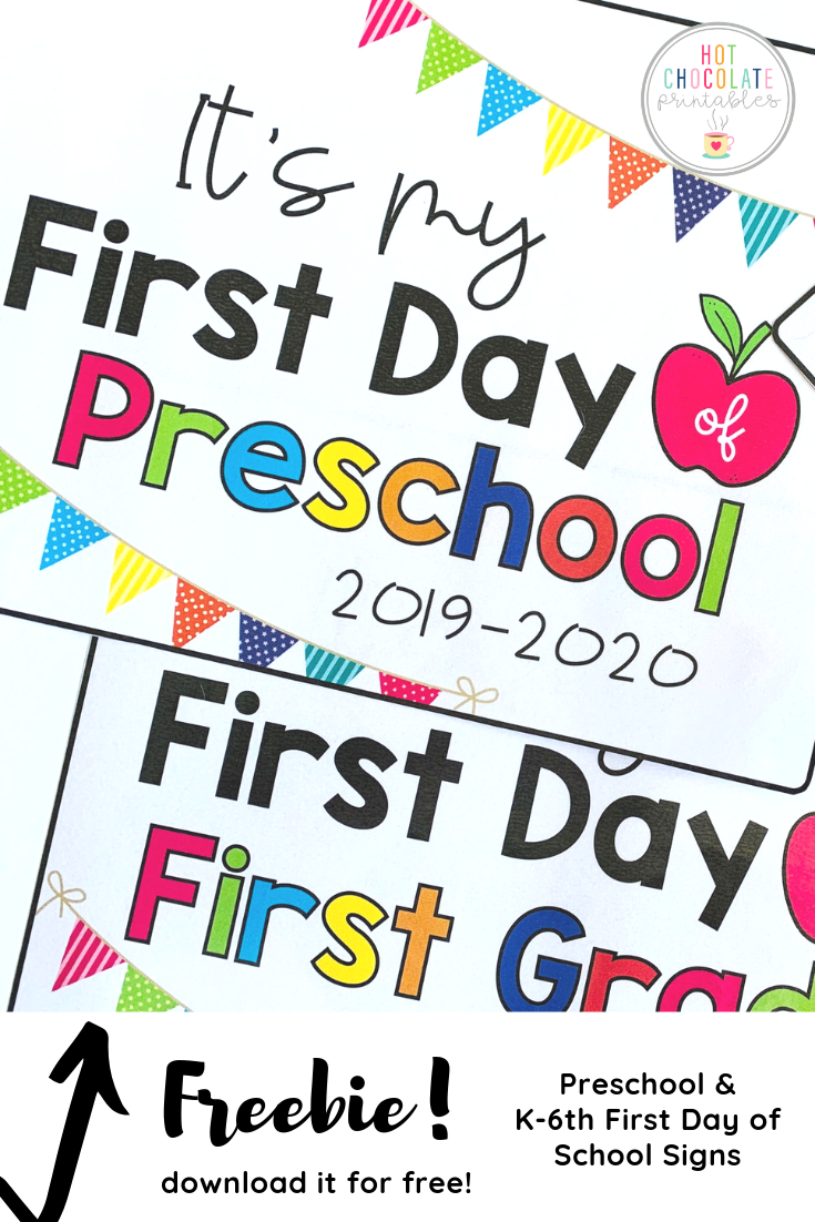 Freebie - First Day Of School Signs #firstdayofschoolsign