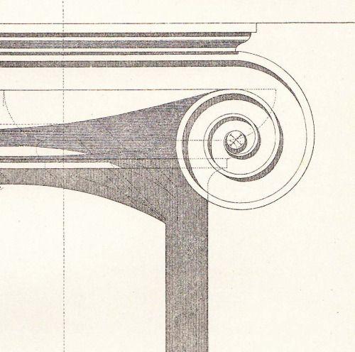 """arquilatria: """" Estudio de sombras de capitel jónico Grabado de 1920 copia del…"""