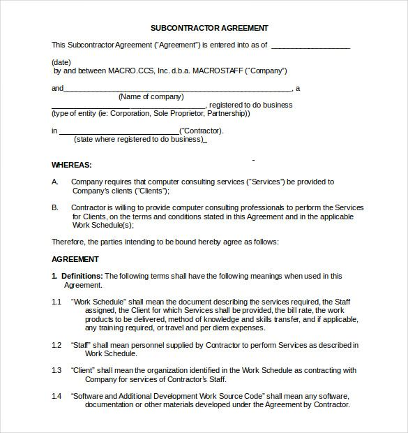 subcontractor non compete agreement sample Word Doc , Non Compete - subcontractor contract template