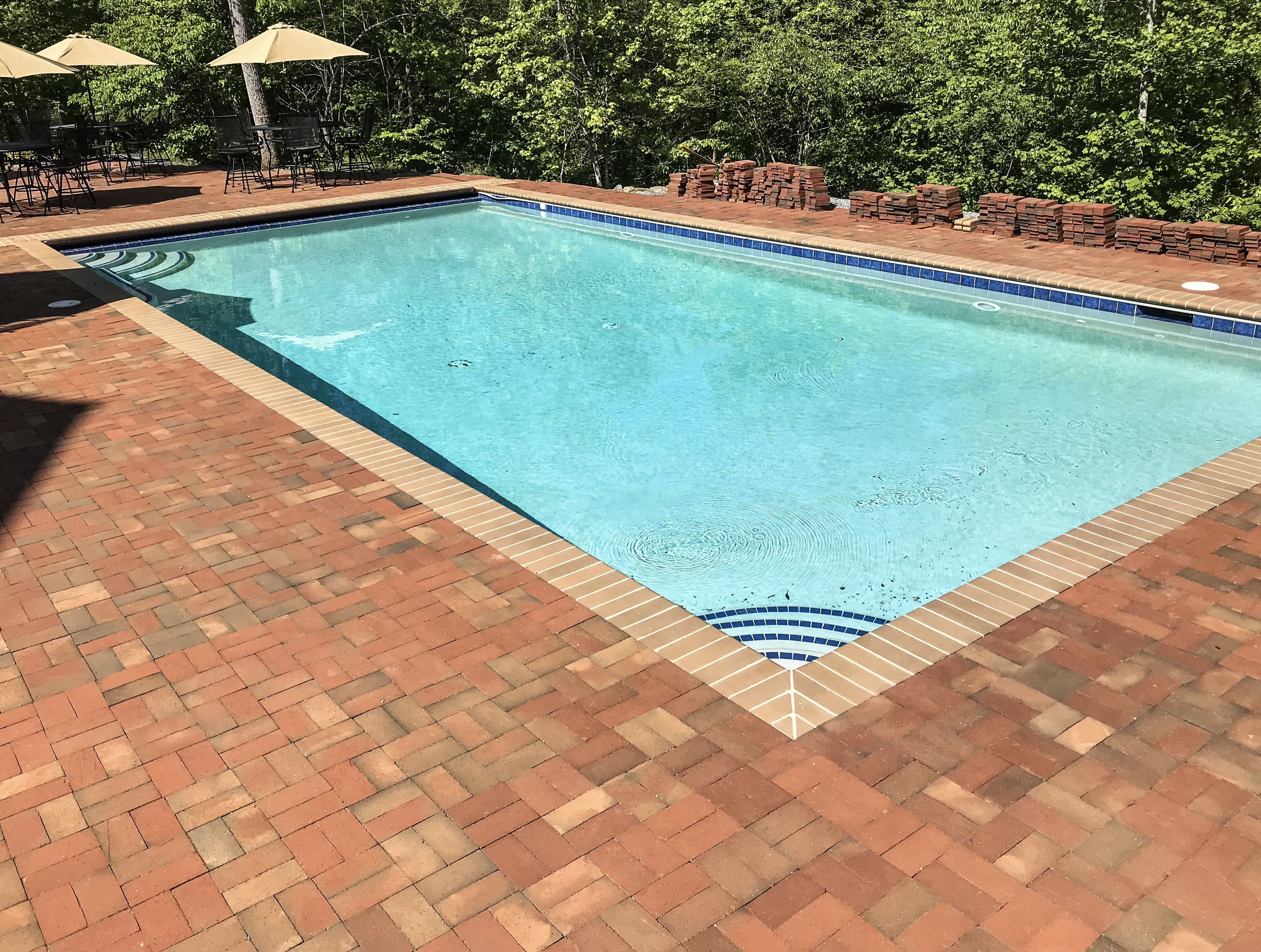 Beautifully Accent Your Blue Pool With A Paver Paver Deck Made With Pathway Full Range Thin Pavers Brick Pavers Garden Pavers Small Backyard Pools