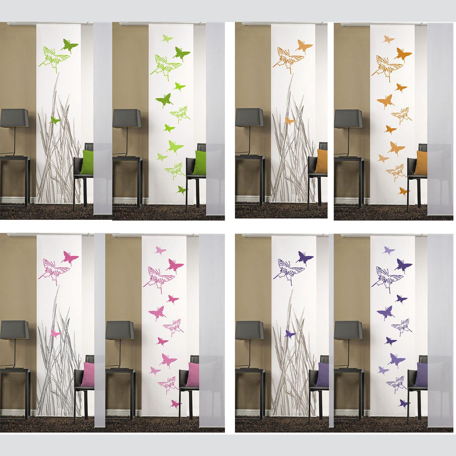 Papillons rideau coulissant panneaux chambre de s paration panneau japonais ebay panneaux - Panneau rideau coulissant ...
