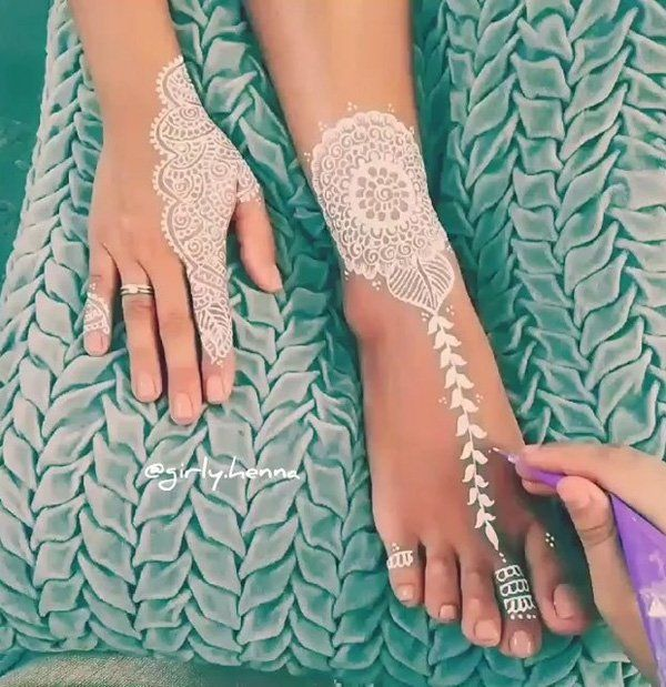 25 Amazing White Henna Designs | Art and Design