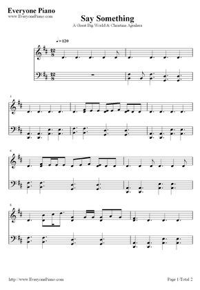 Free Say Something A Great Big World Piano Sheet Music Preview 1