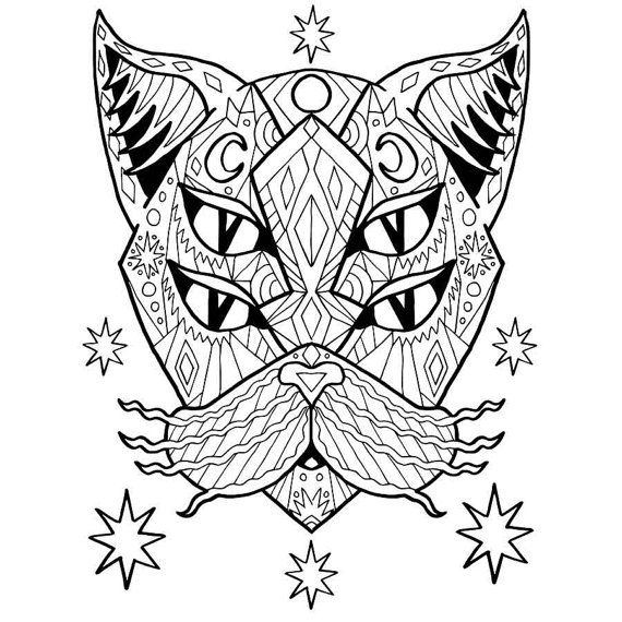 Adult Coloring PDF Cat Page Good Vibes Only Stress Relief Gifts Lovers Gift Idea Mandala Colouring Anti Anxiety