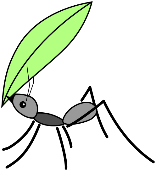 Image result for ant with a leaf cartoon