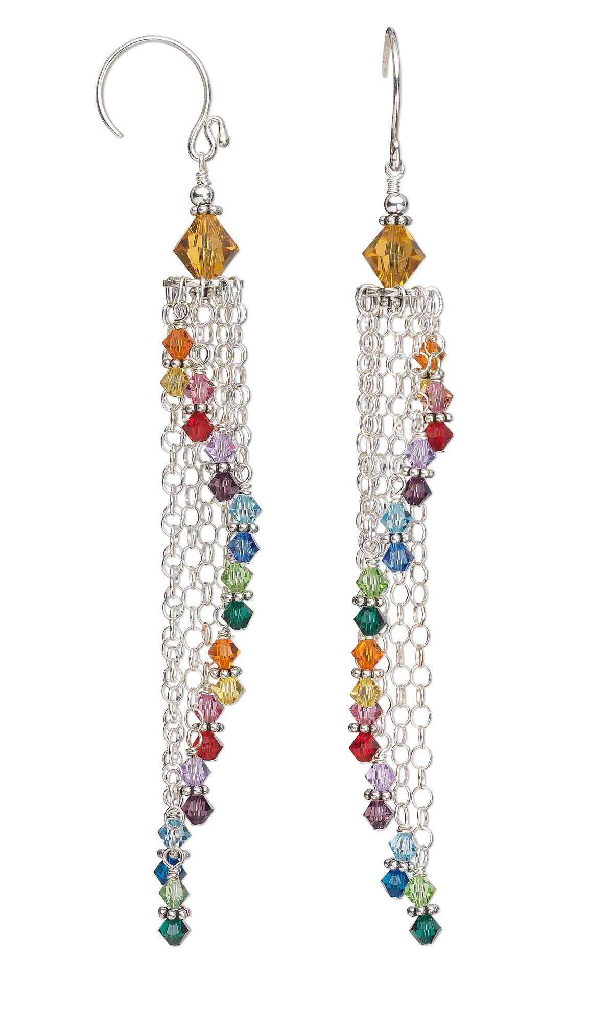 Jewelry Design Earrings With Swarovski Crystal Beads And Sterling Silver Chain Fire Mountain Gems