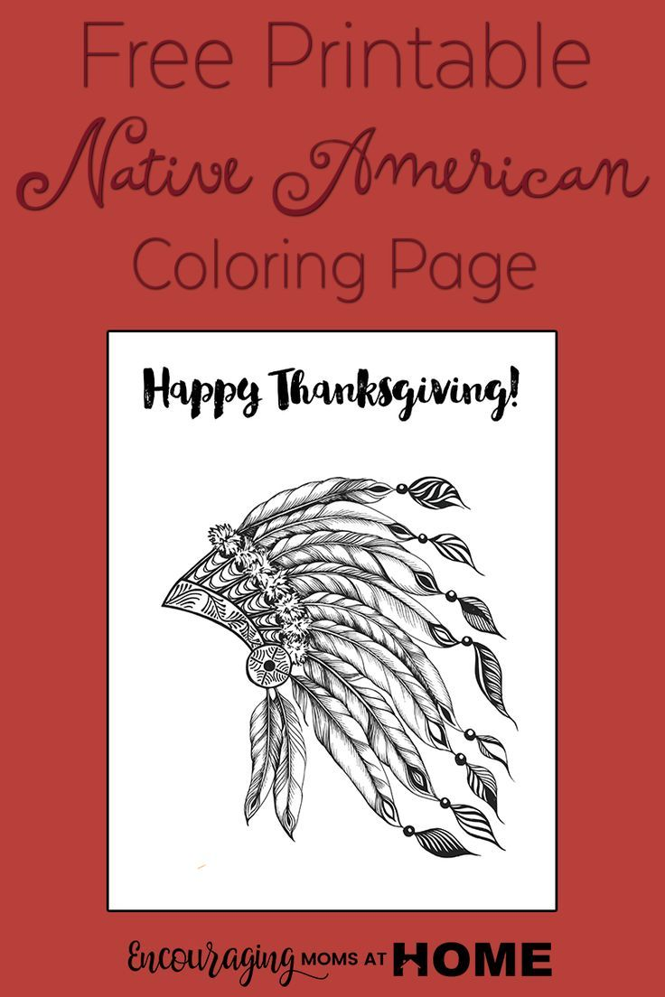 Free Printable Thanksgiving Coloring Pages – Native American Head Dress