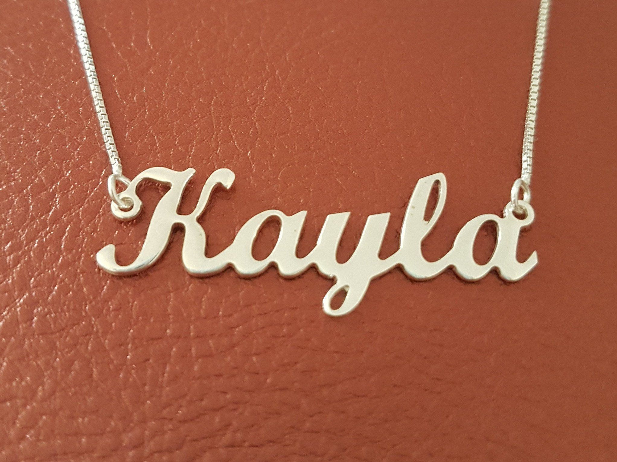 Personalized name necklace sterling silver name charm kayla name