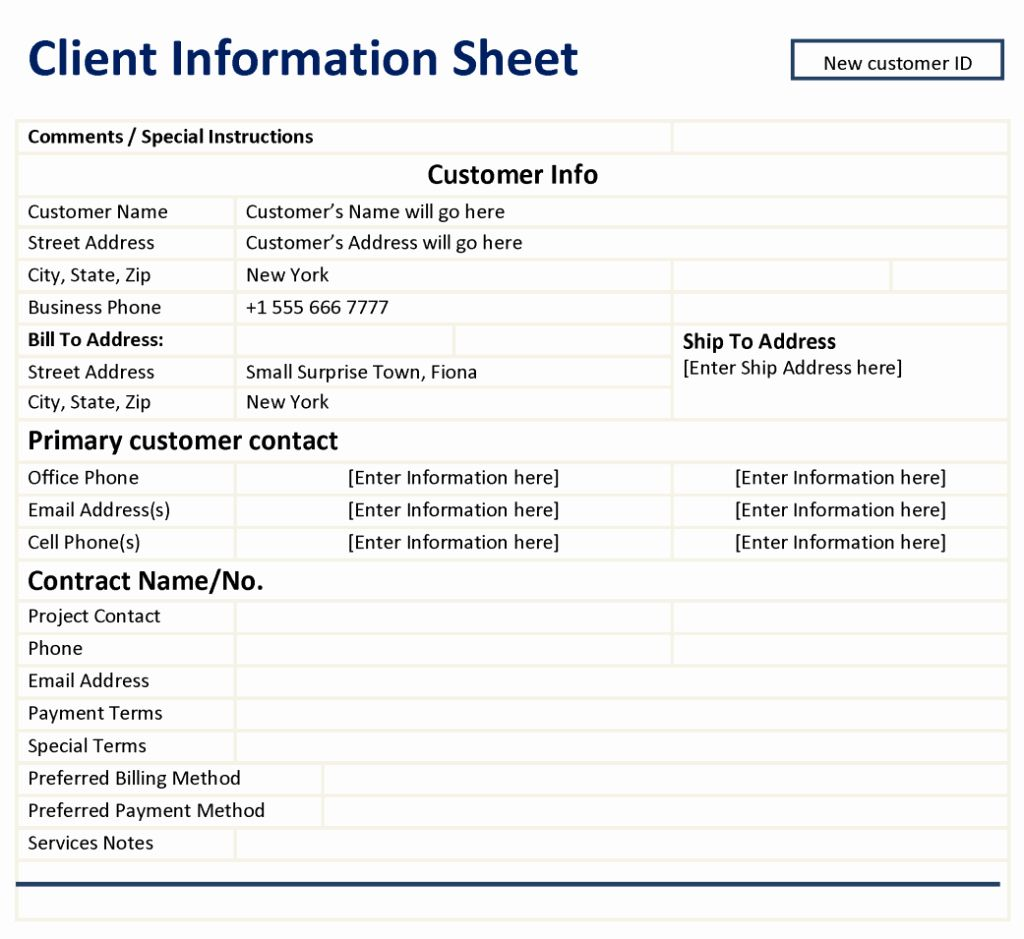 New Customer Form Template Free Lovely Client Information Sheet